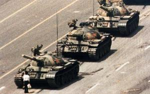 Tank Man stands his ground in Tiananmen Square on June 4, 1989 (Image Source: The Telegraph.co.uk)